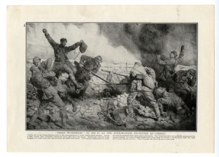 1916 WW1 Print BATTLE COMBLES FRANCE Three Musketeers HAND TO HAND COMBAT Somme Picardie
